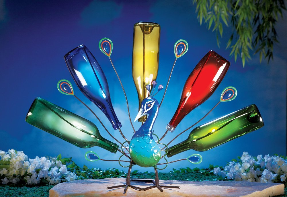 Solar Peacock Wine Bottle Tree